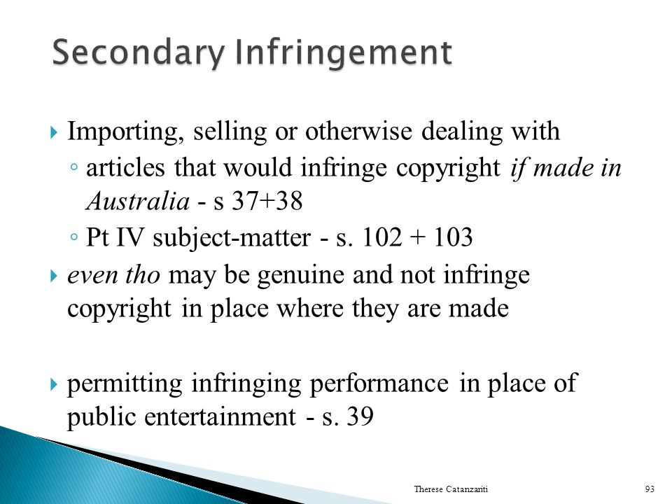 Secondary Infringement