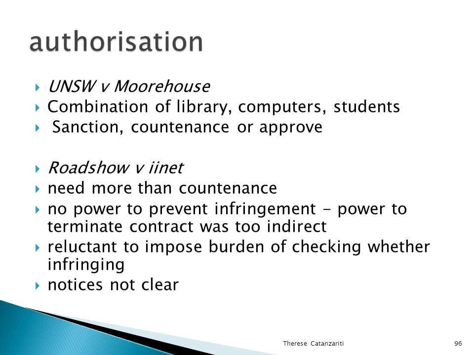 authorisation UNSW v Moorehouse