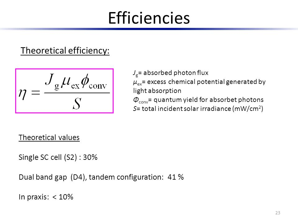 Efficiencies Theoretical efficiency: Theoretical values