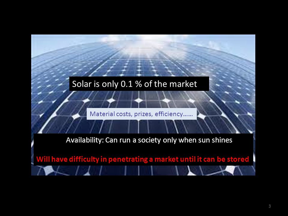 Solar is only 0.1 % of the market