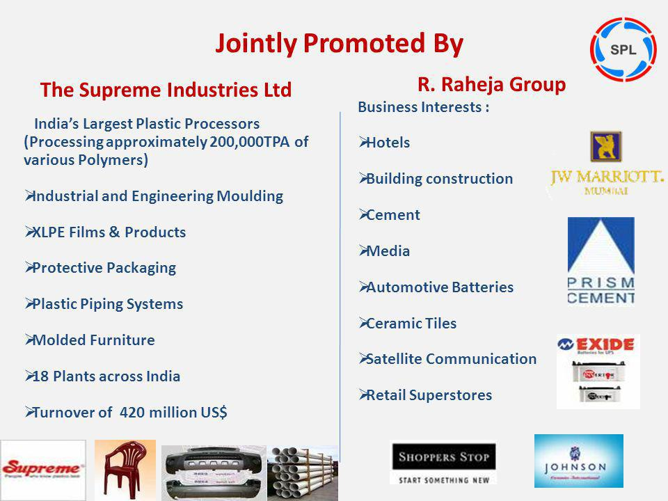 Jointly Promoted By R. Raheja Group The Supreme Industries Ltd