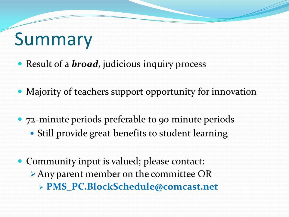 Summary Result of a broad, judicious inquiry process