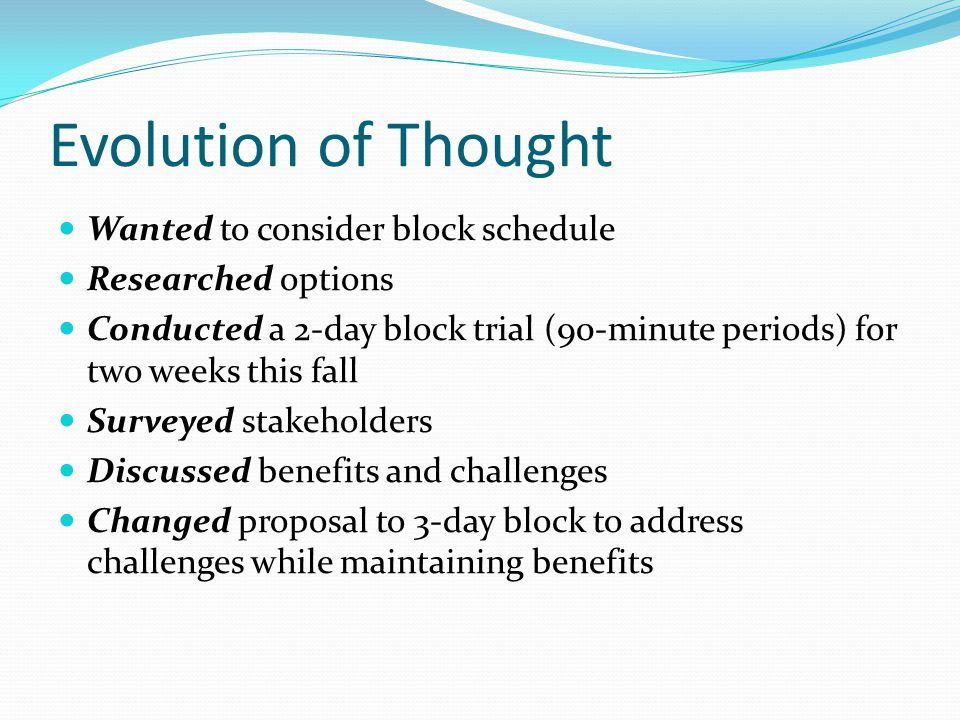 Evolution of Thought Wanted to consider block schedule