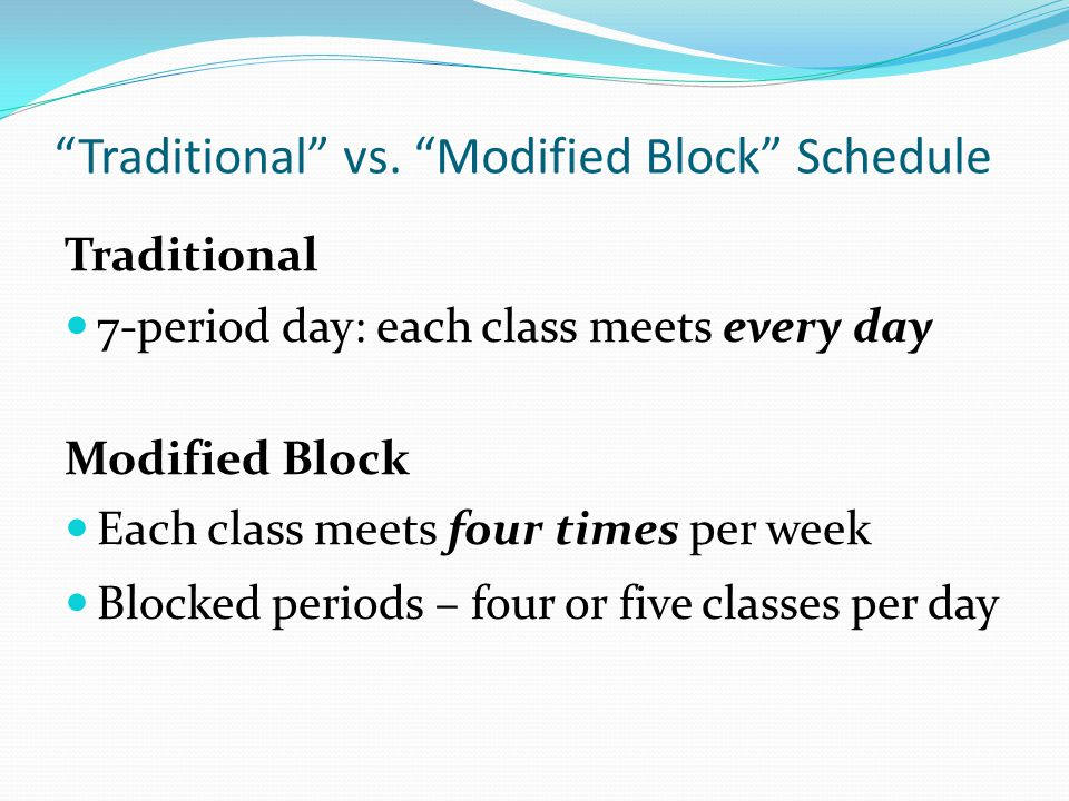 Traditional vs. Modified Block Schedule