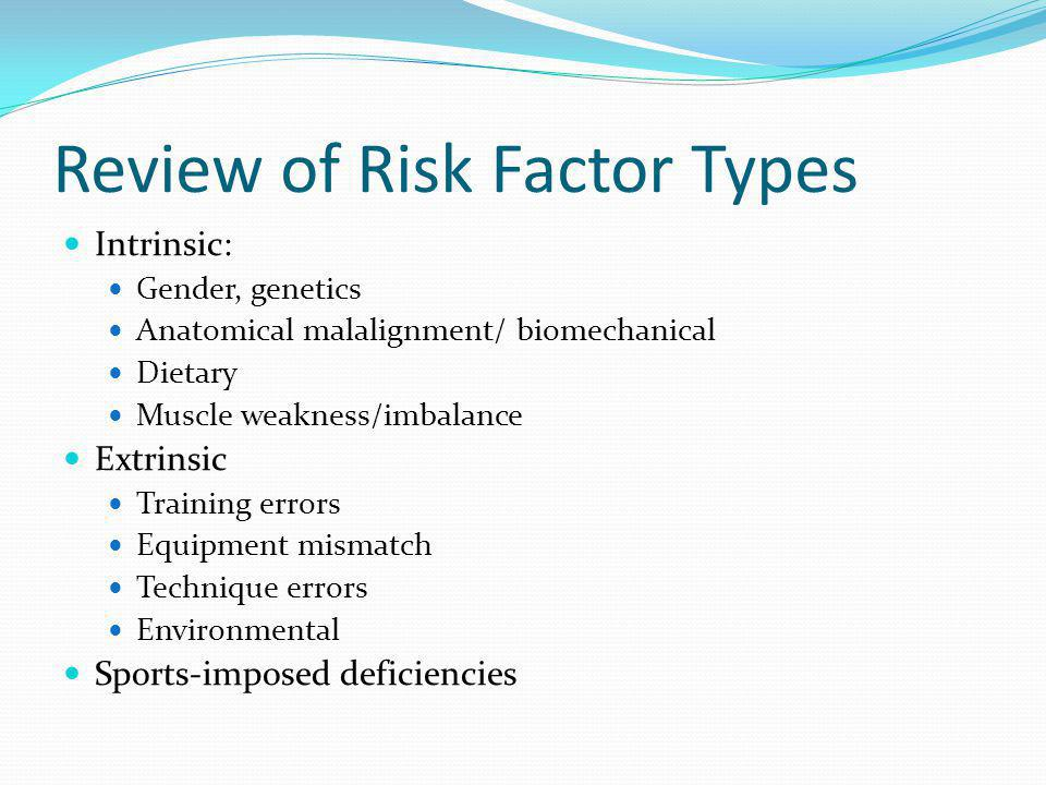 Review of Risk Factor Types