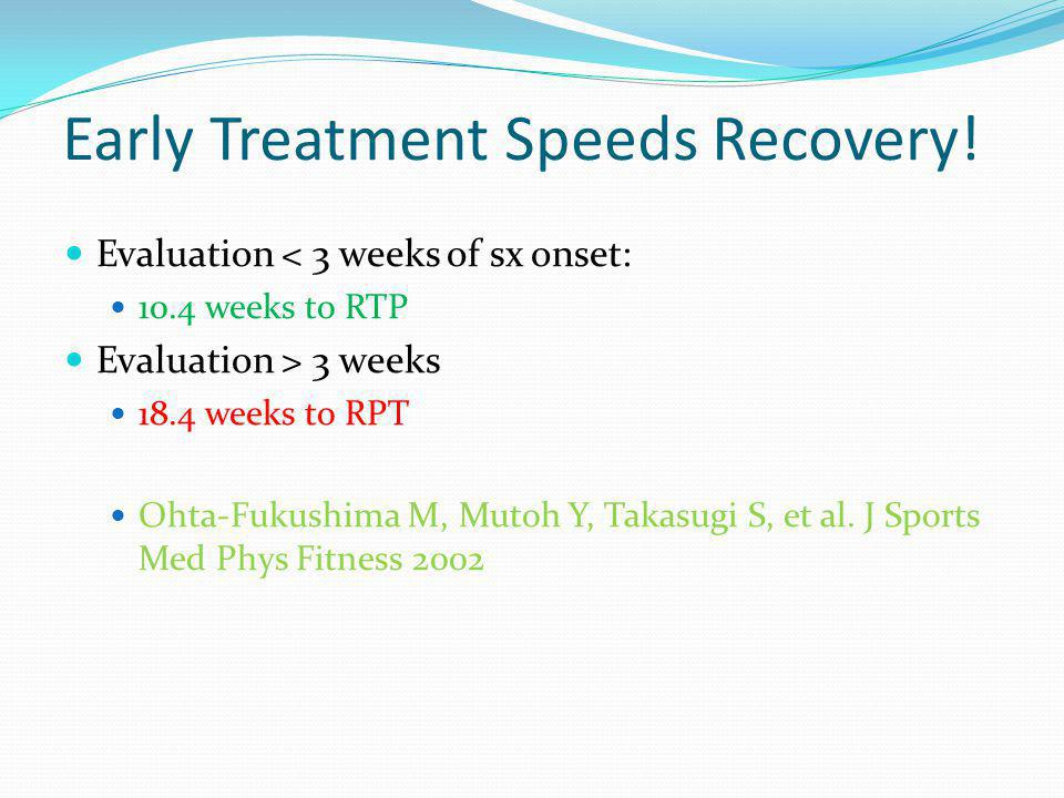 Early Treatment Speeds Recovery!