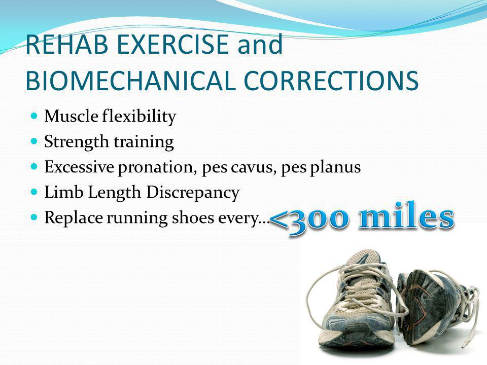 REHAB EXERCISE and BIOMECHANICAL CORRECTIONS
