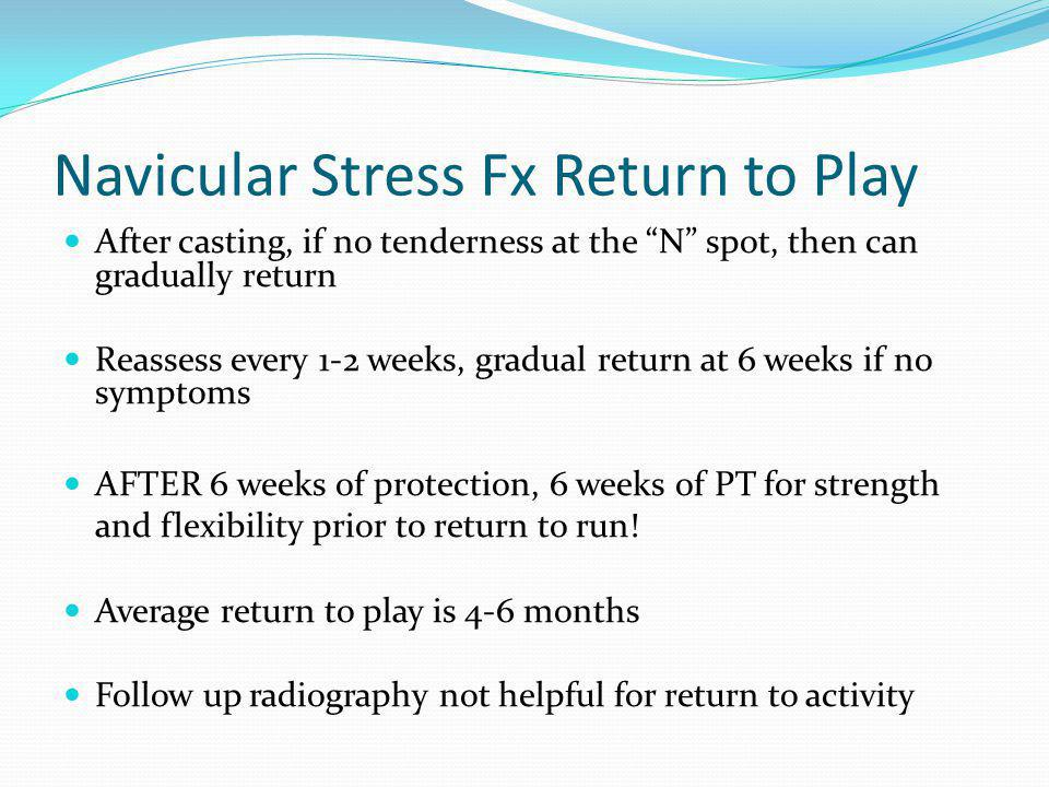 Navicular Stress Fx Return to Play