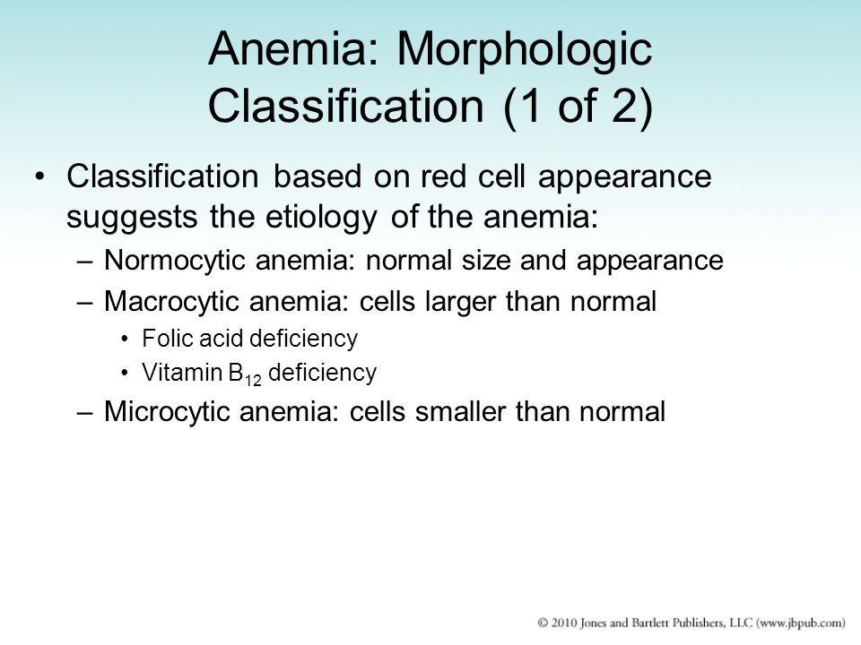 Anemia: Morphologic Classification (1 of 2)