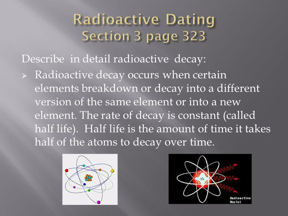 Radioactive Dating Section 3 page 323
