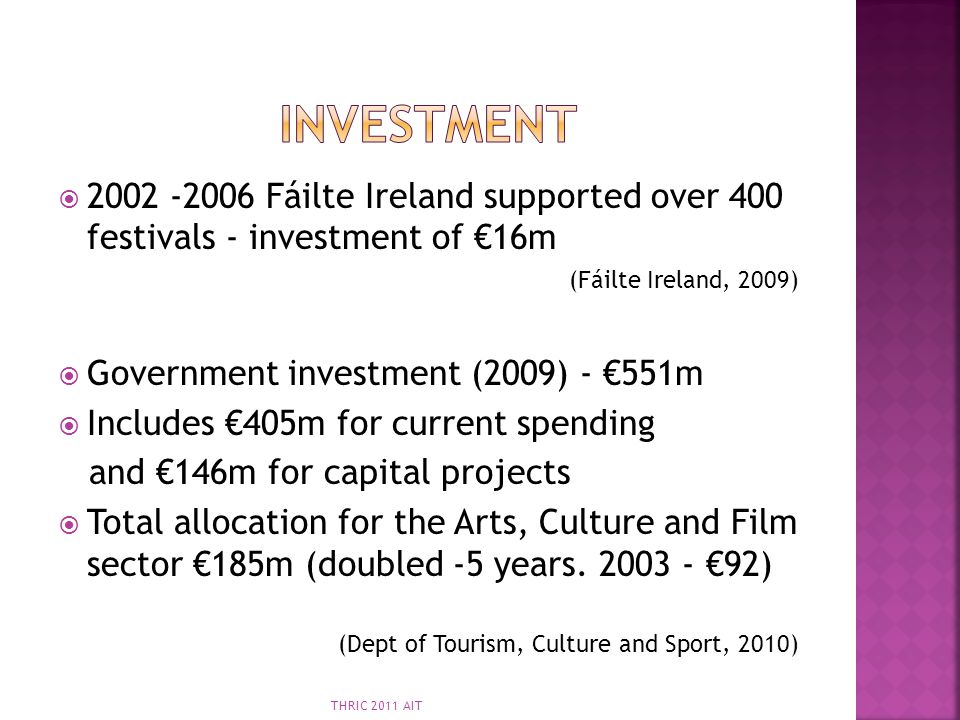 Investment 2002 -2006 Fáilte Ireland supported over 400 festivals - investment of €16m. (Fáilte Ireland, 2009)