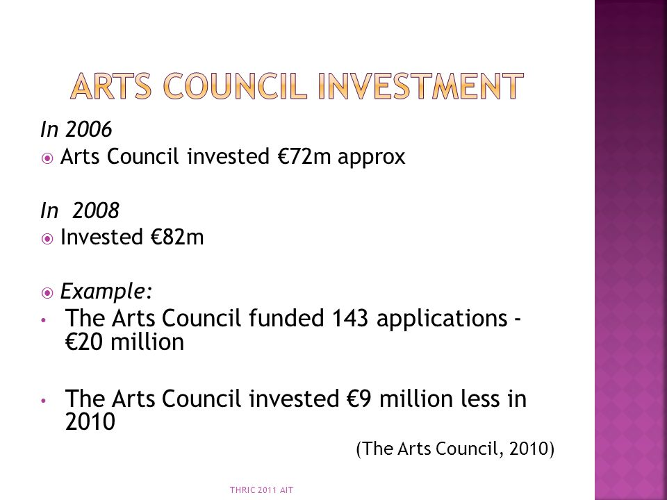 Arts council investment