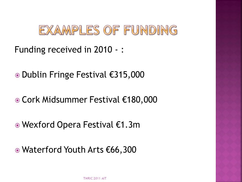 Examples of Funding Funding received in 2010 - :