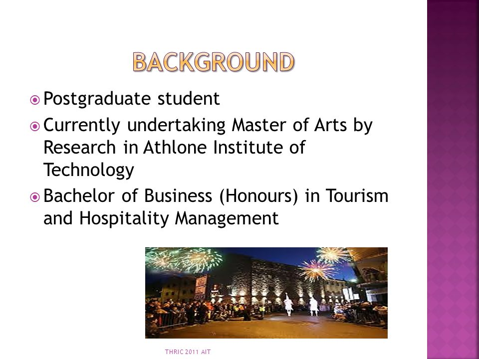 Background Postgraduate student