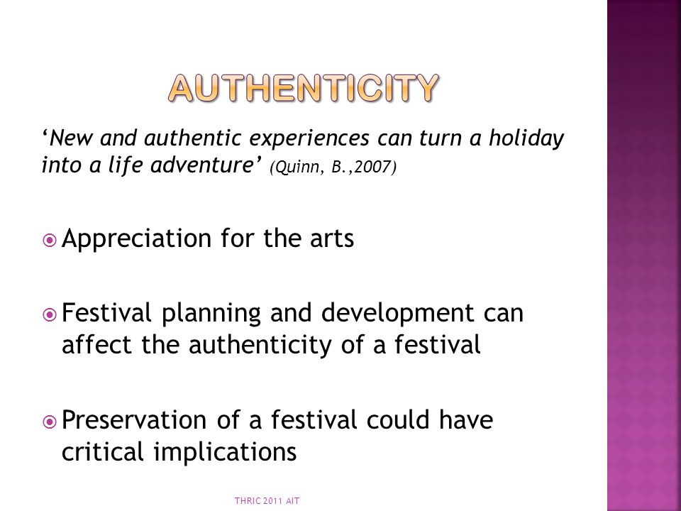 Authenticity Appreciation for the arts