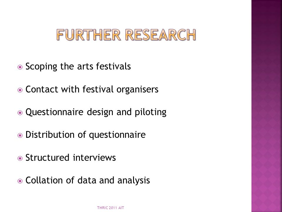 Further Research Scoping the arts festivals