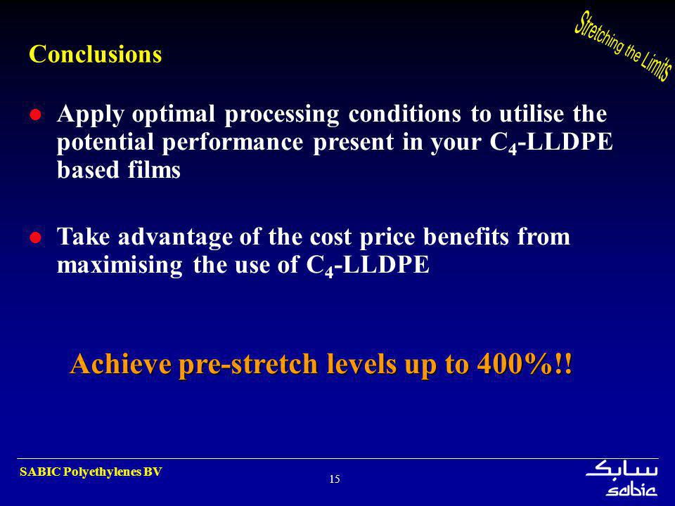 Achieve pre-stretch levels up to 400%!!