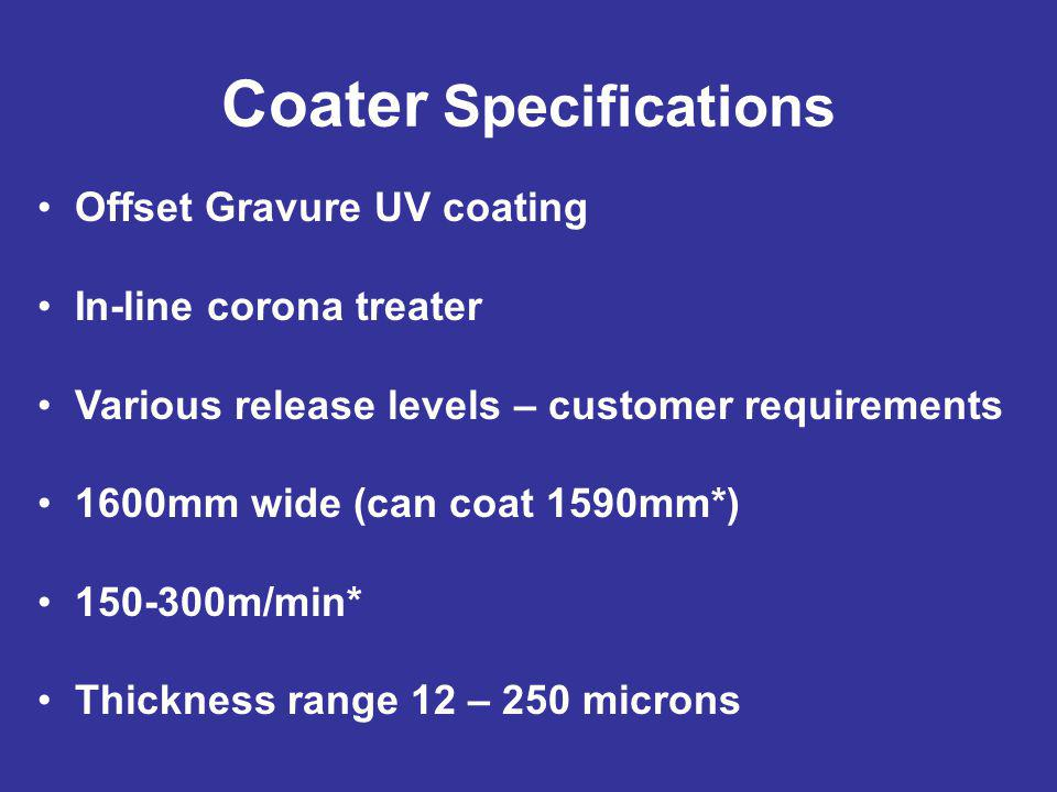 Coater Specifications