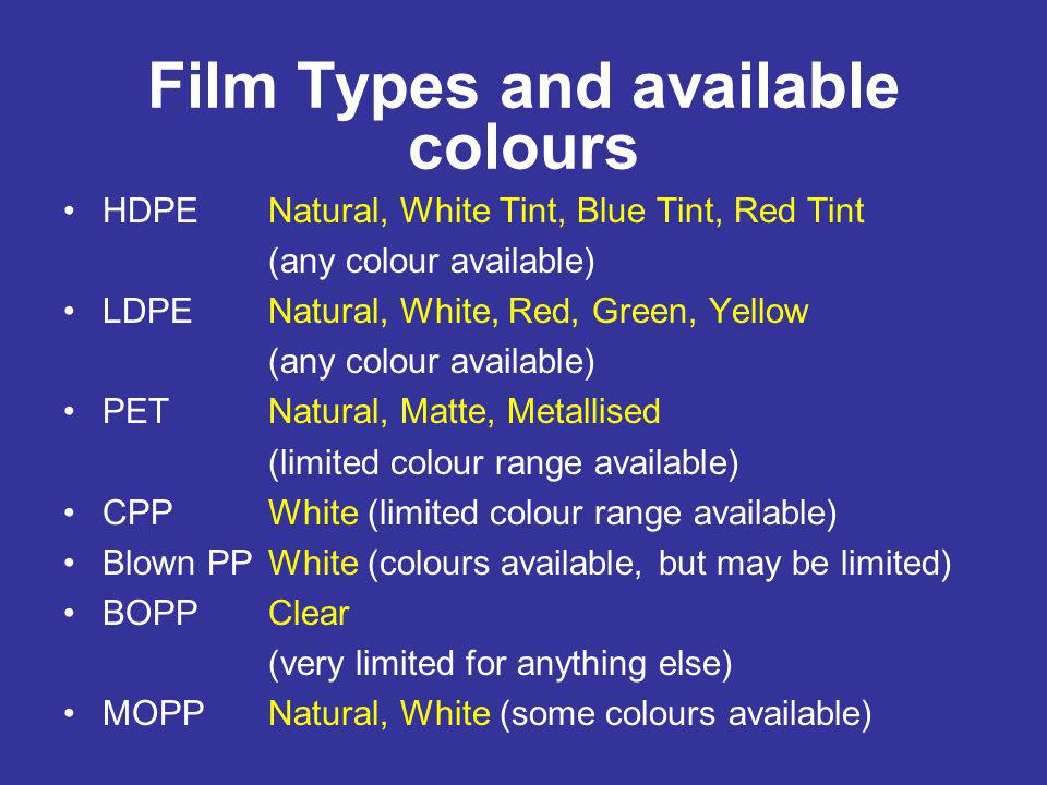 Film Types and available colours