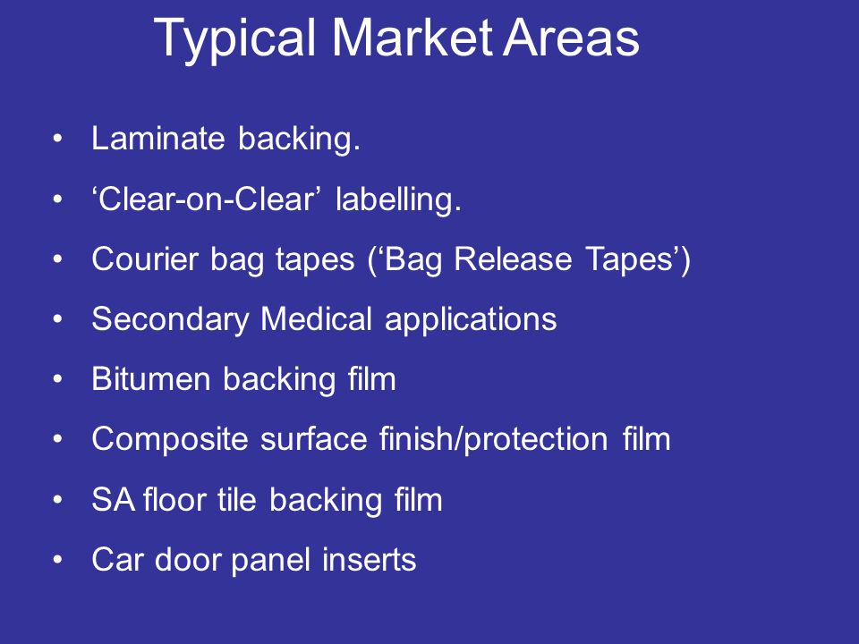 Typical Market Areas Laminate backing. 'Clear-on-Clear' labelling.