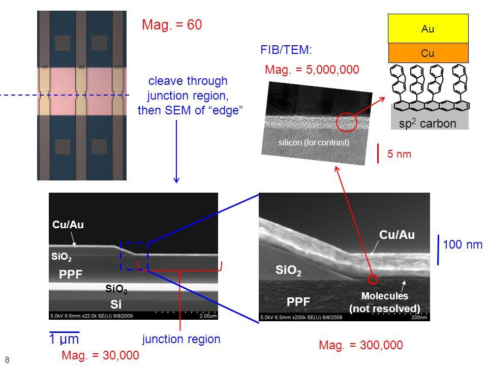 Mag. = 60 TEM 1 µm FIB/TEM: Mag. = 5,000,000 cleave through