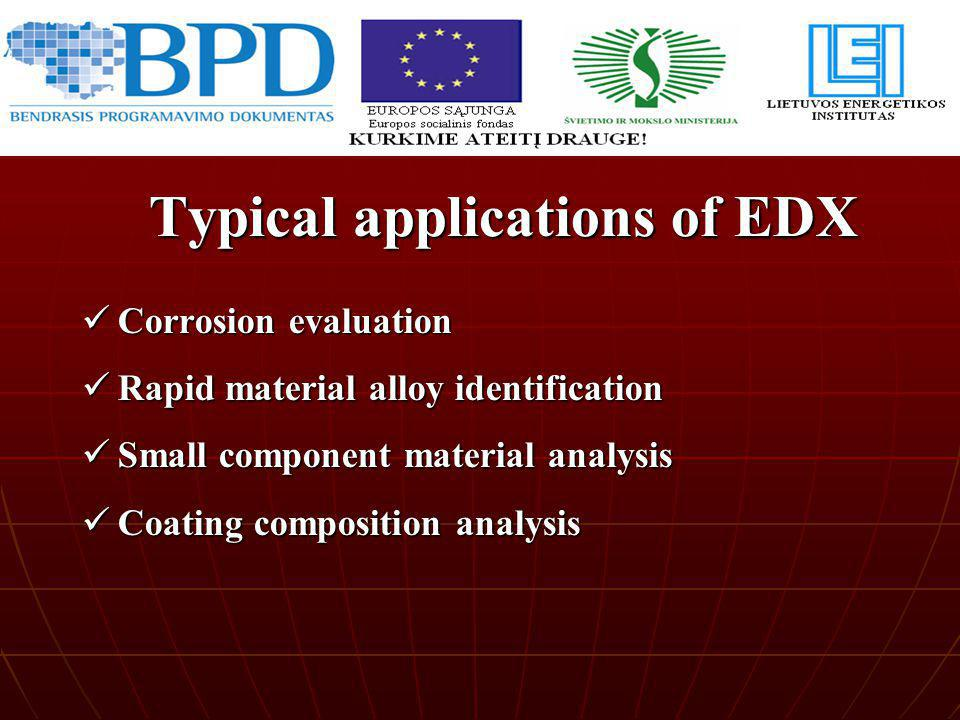 Typical applications of EDX
