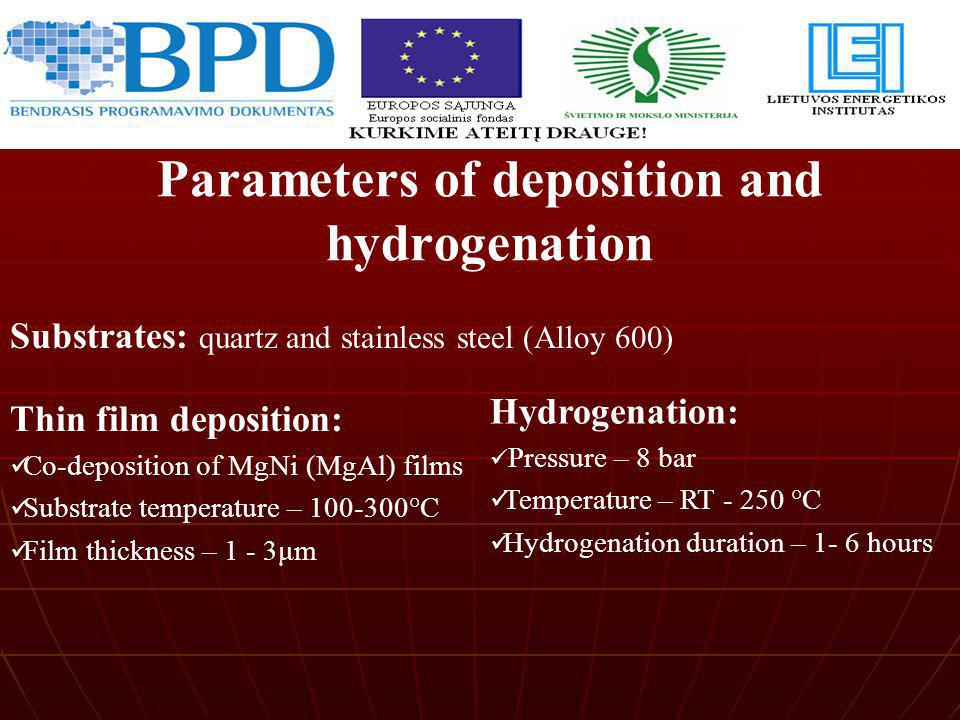 Parameters of deposition and hydrogenation