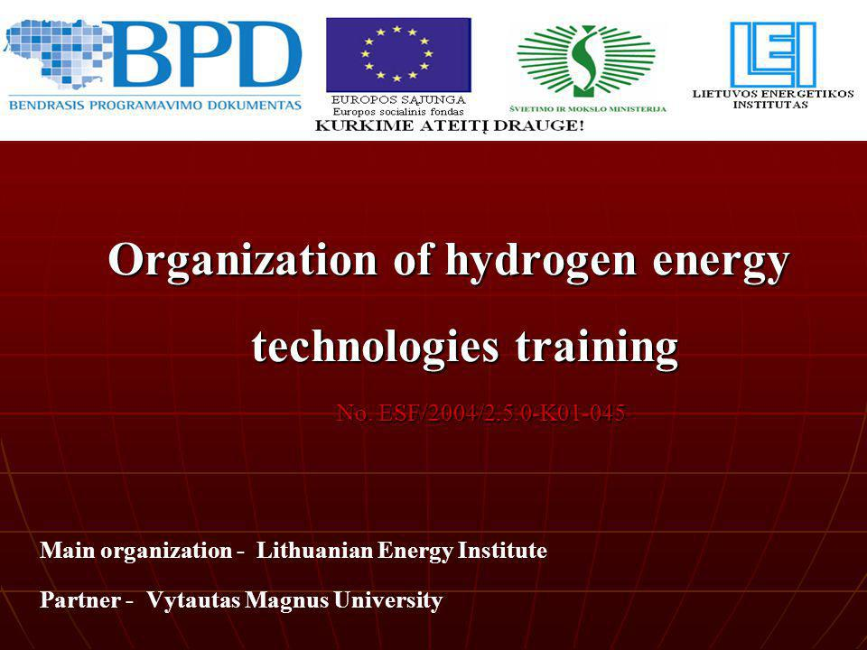 Organization of hydrogen energy technologies training