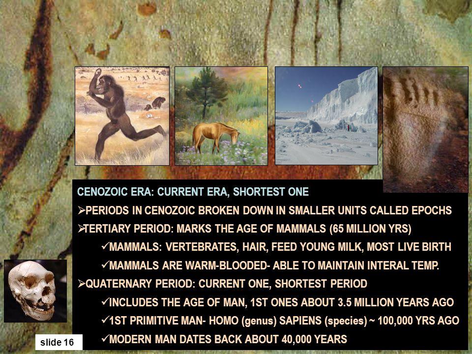 CENOZOIC ERA: CURRENT ERA, SHORTEST ONE