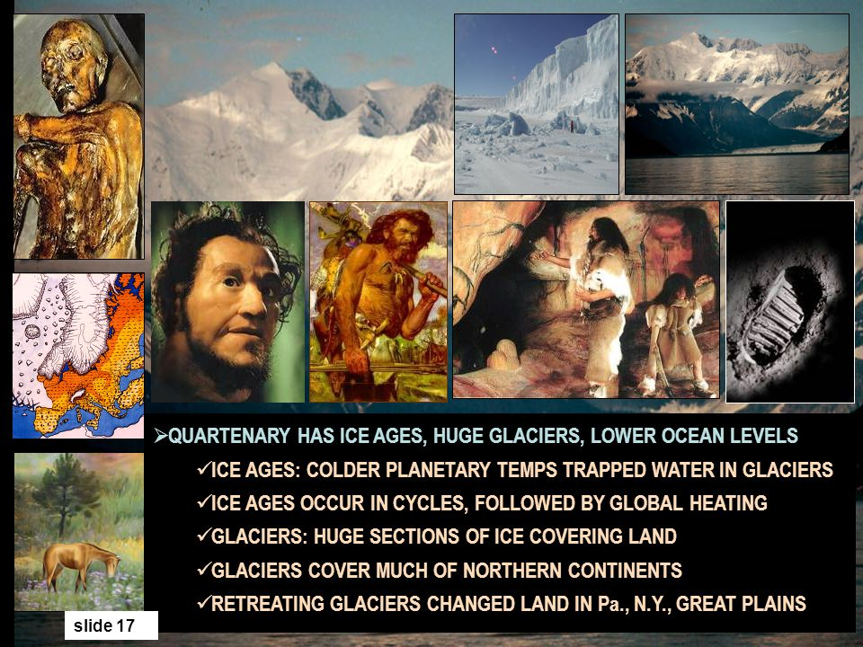 QUARTENARY HAS ICE AGES, HUGE GLACIERS, LOWER OCEAN LEVELS