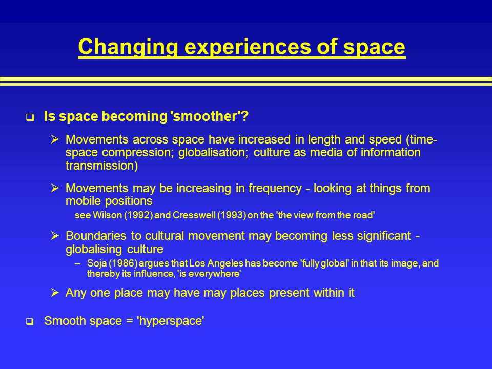 Changing experiences of space