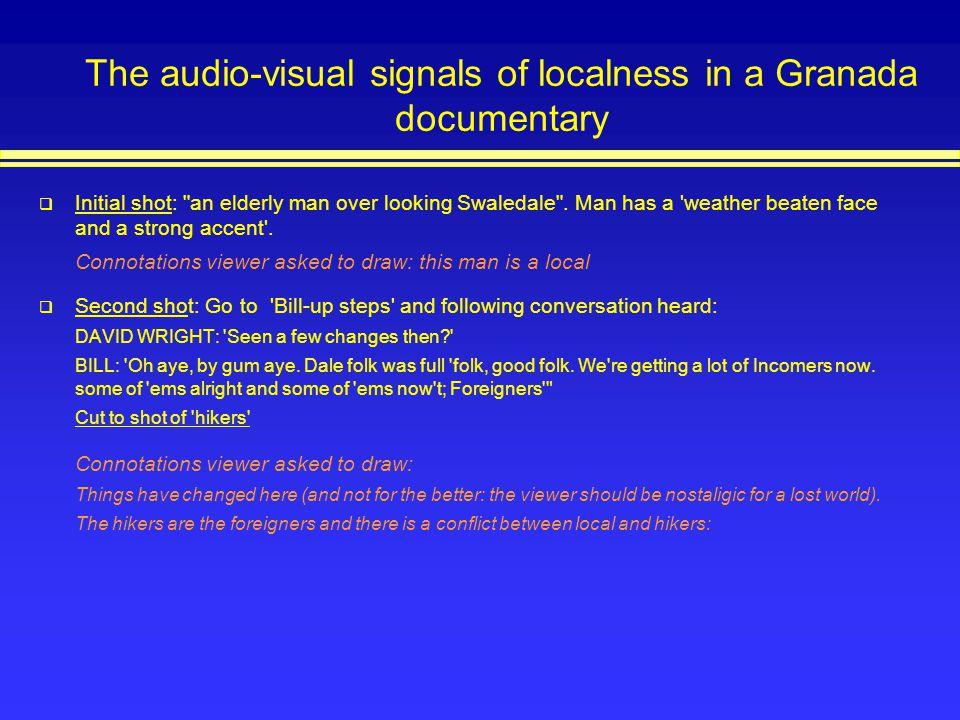 The audio-visual signals of localness in a Granada documentary