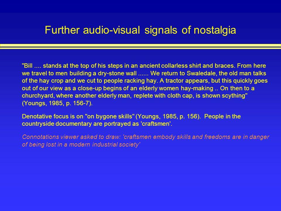Further audio-visual signals of nostalgia