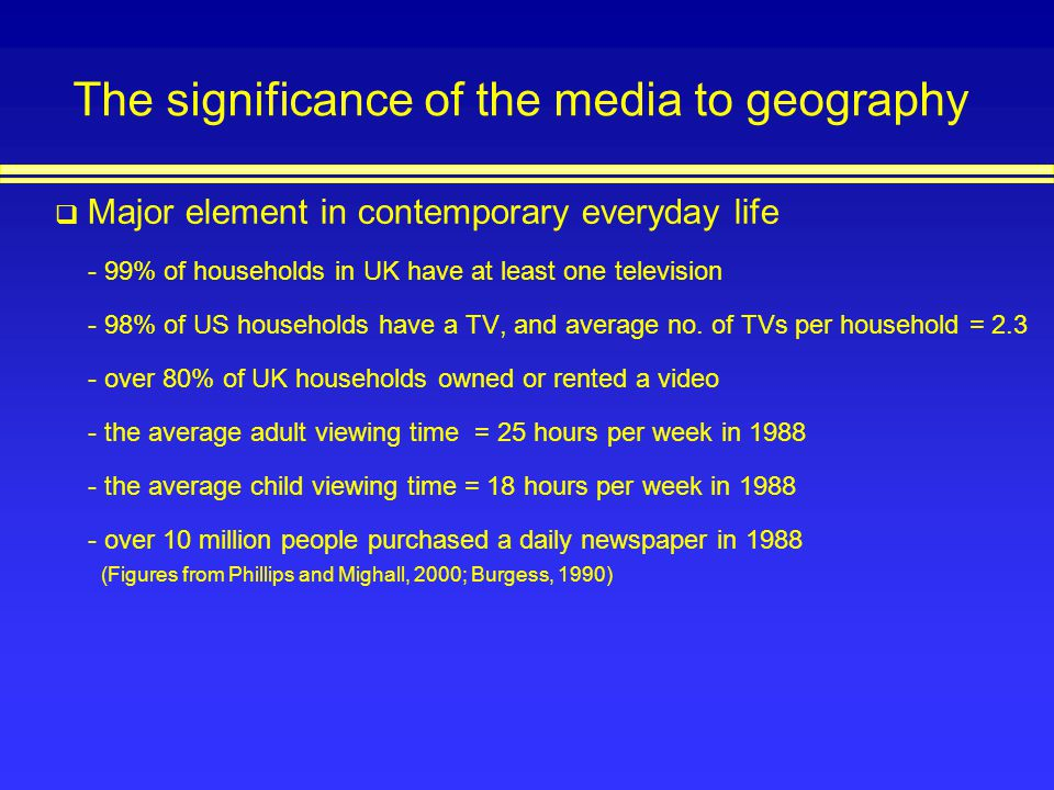 The significance of the media to geography