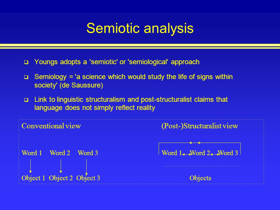 Semiotic analysis Conventional view (Post-)Structuralist view