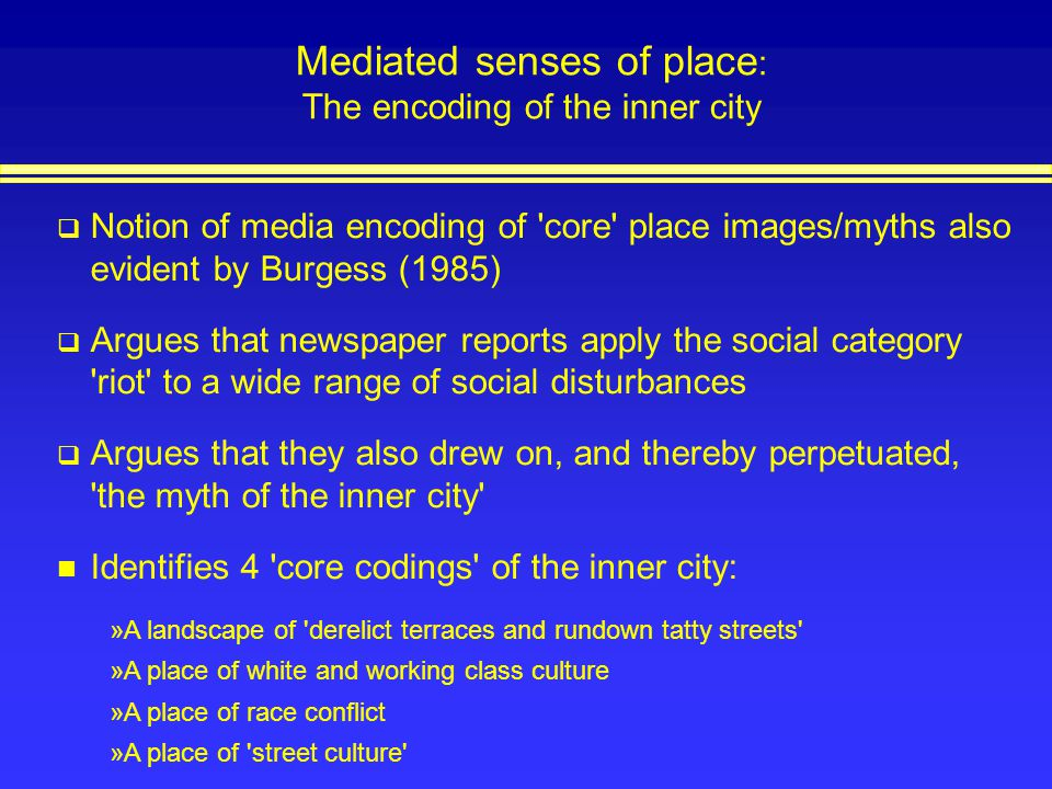 Mediated senses of place: The encoding of the inner city