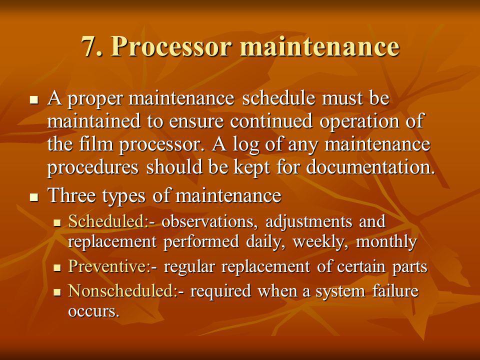7. Processor maintenance