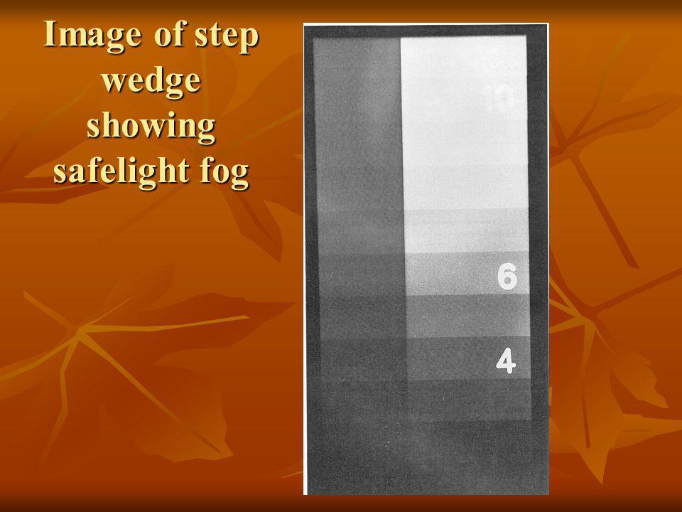 Image of step wedge showing safelight fog