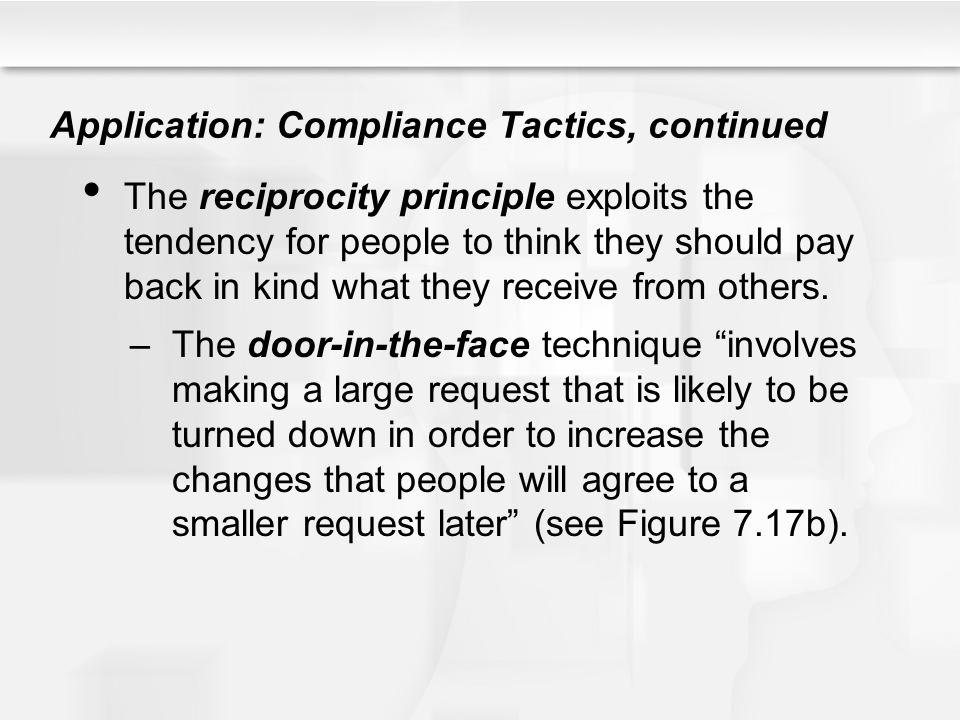 Application: Compliance Tactics, continued