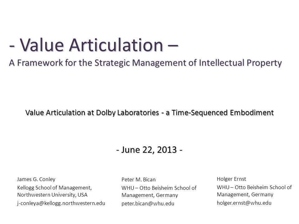 Value Articulation at Dolby Laboratories - a Time-Sequenced Embodiment