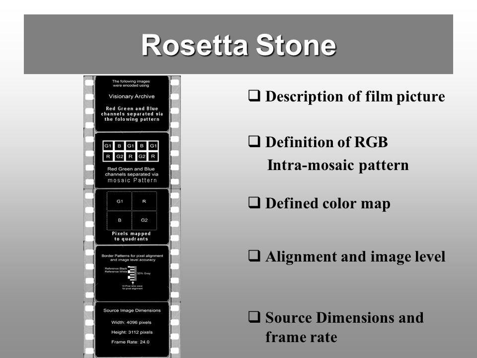 Rosetta Stone Description of film picture Definition of RGB
