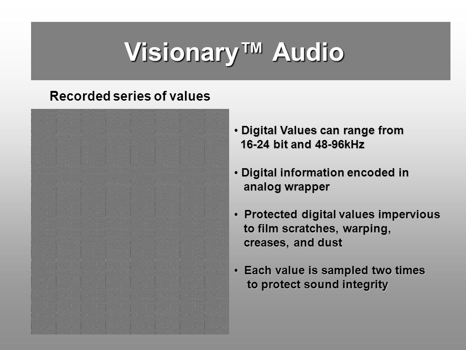 Visionary™ Audio Recorded series of values