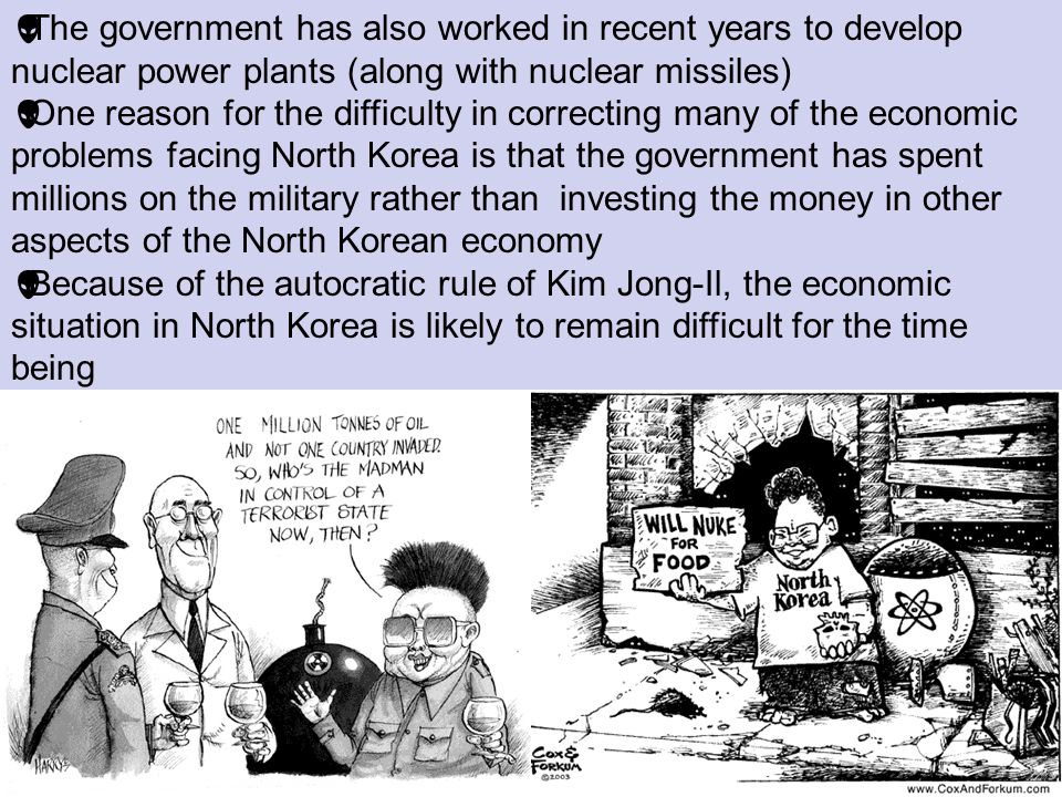 The government has also worked in recent years to develop nuclear power plants (along with nuclear missiles)