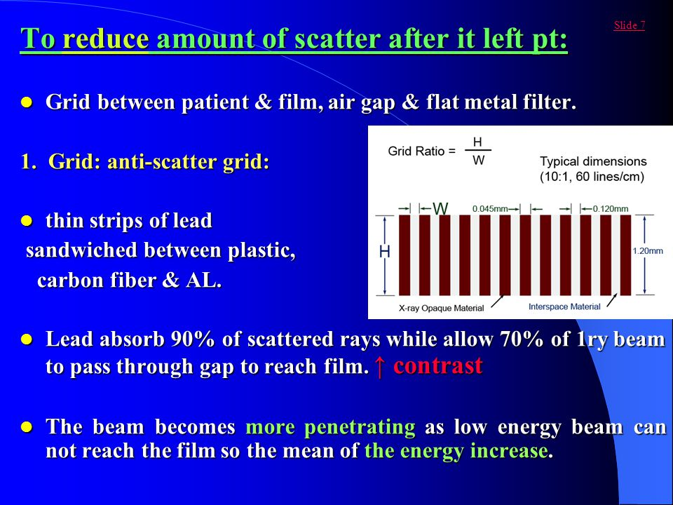 To reduce amount of scatter after it left pt: