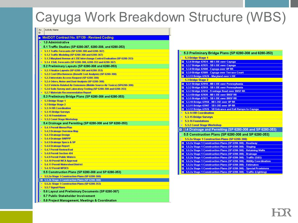 Cayuga Work Breakdown Structure (WBS)