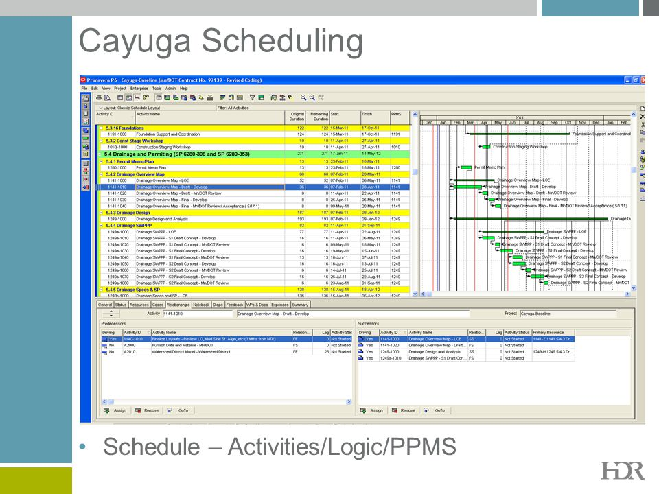 Cayuga Scheduling Schedule – Activities/Logic/PPMS