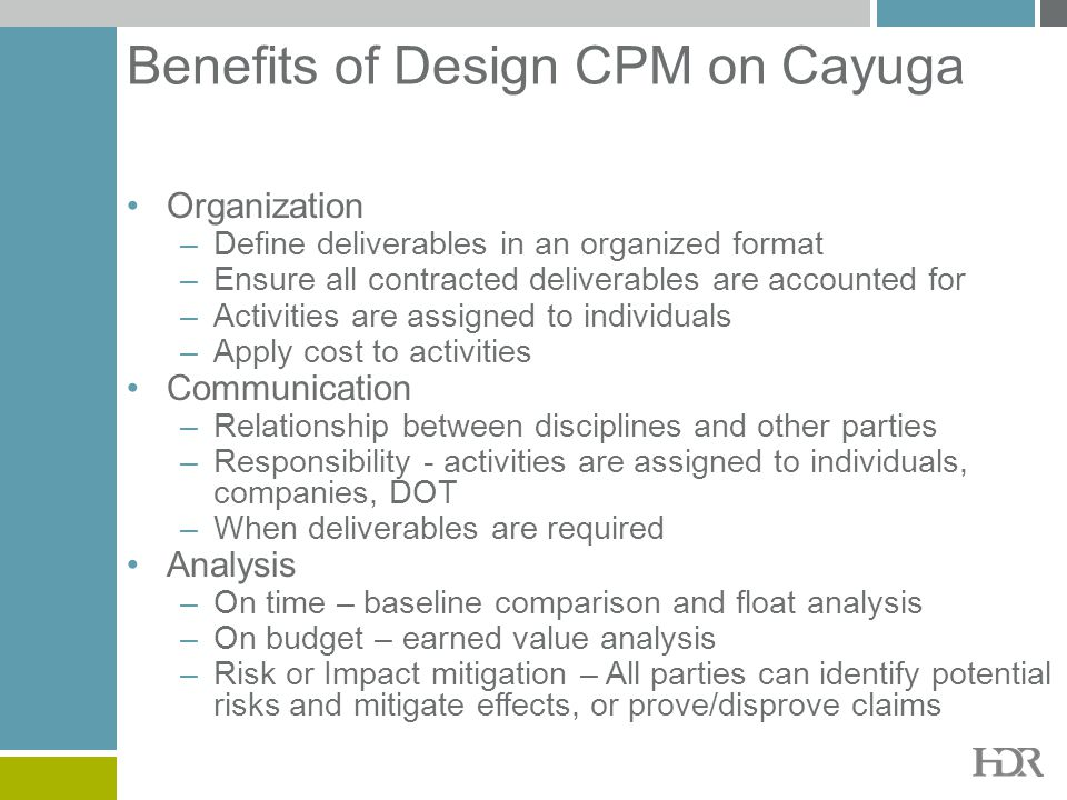 Benefits of Design CPM on Cayuga