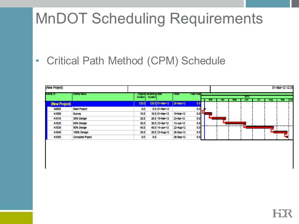MnDOT Scheduling Requirements