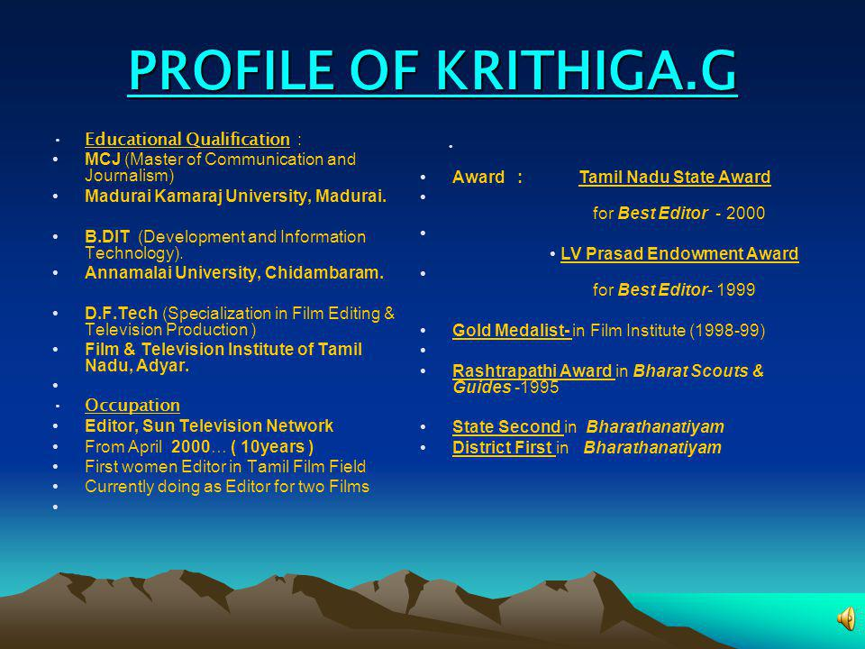 PROFILE OF KRITHIGA.G Educational Qualification :