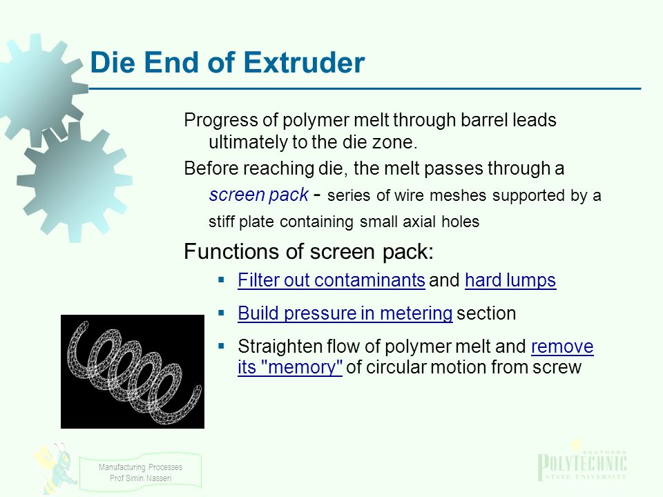 Die End of Extruder Functions of screen pack: